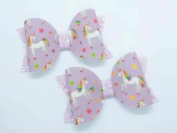 Lilac Rainbow Unicorn Bow