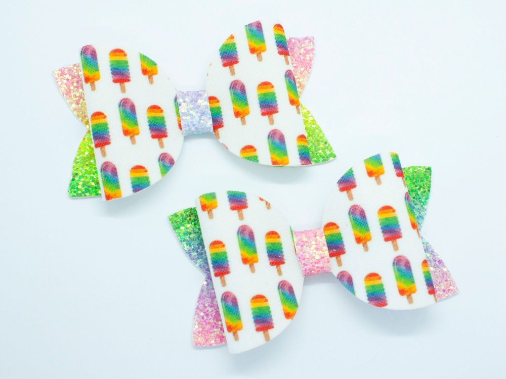 Ice Pops Rainbow Glitter Bows