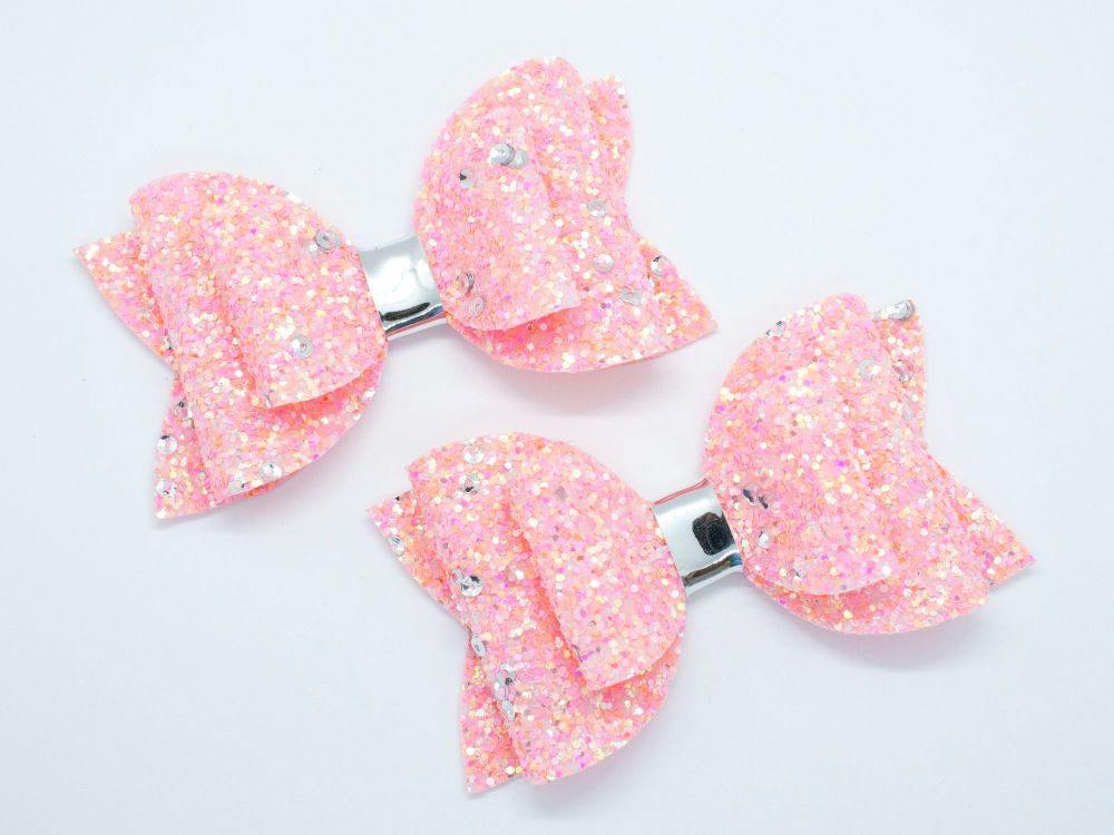 New Summer Glitter Bows – Coral Crush