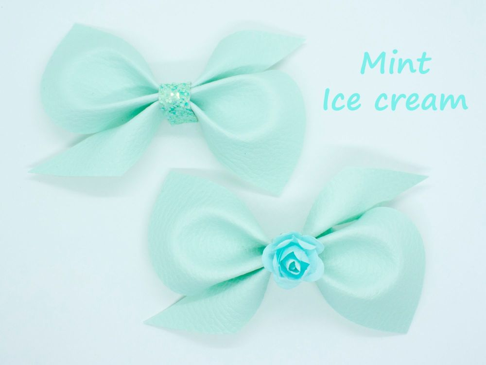Leatherette Scrunchi Bow – Mint Ice Cream – 2 Options