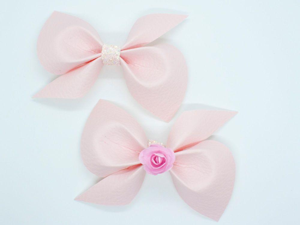 Leatherette Scrunchi Bow – Powder Pink – 2 Options