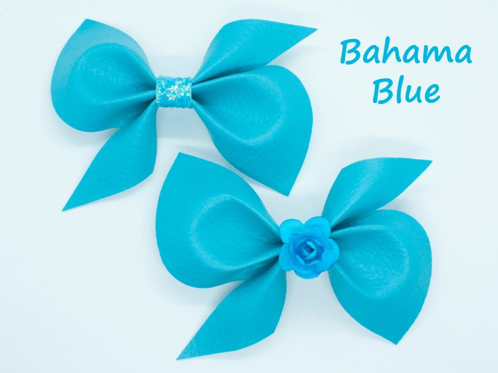 Leatherette Scrunchi Bow – Bahama Blue – 2 Options