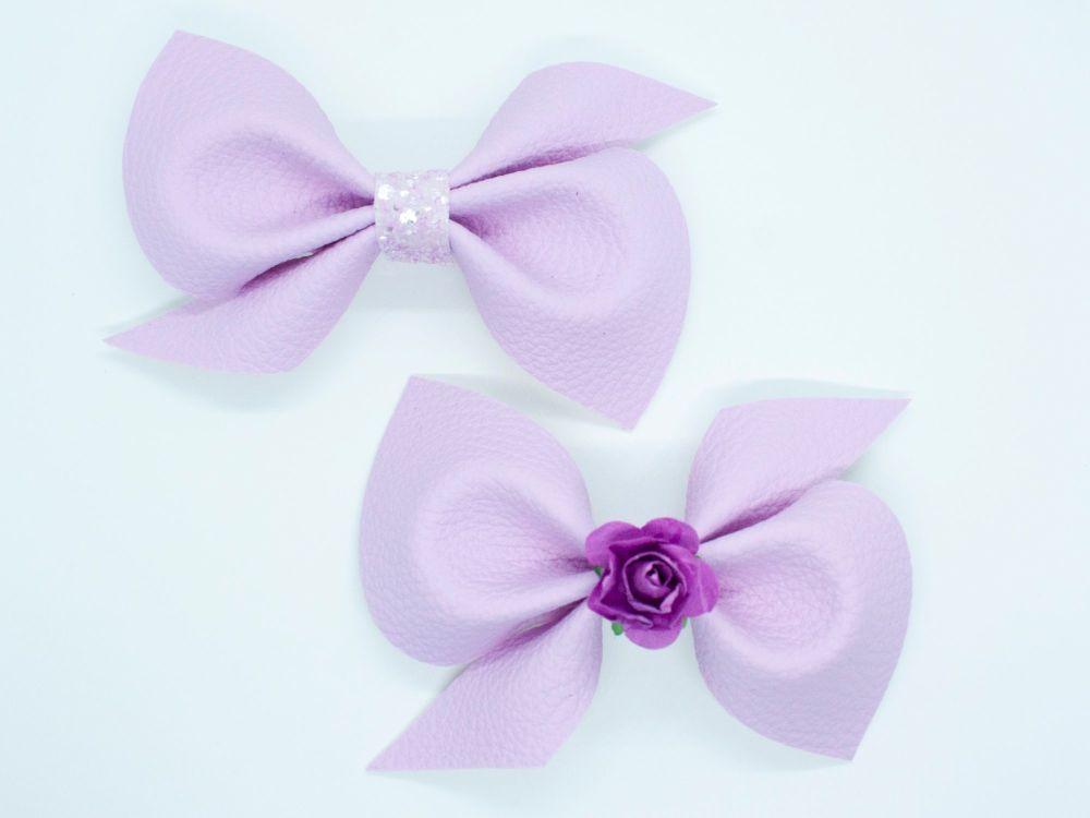 Leatherette Scrunchi Bow – Parma Violet – 2 Options