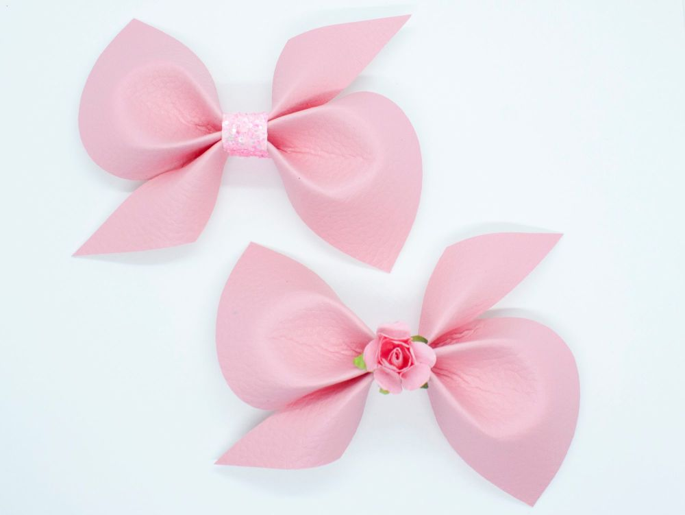Leatherette Scrunchi Bow – Blush Pink – 2 Options