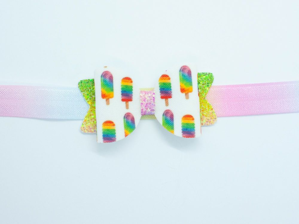 Ice Pops Rainbow Glitter Small Bow - On Band or Clip