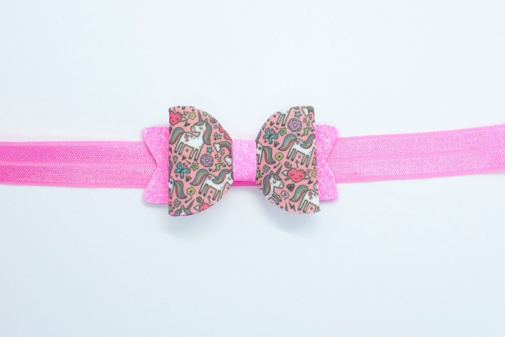 Neon Pink Unicorn Mash Up Small Bow - On Headband Or Clip