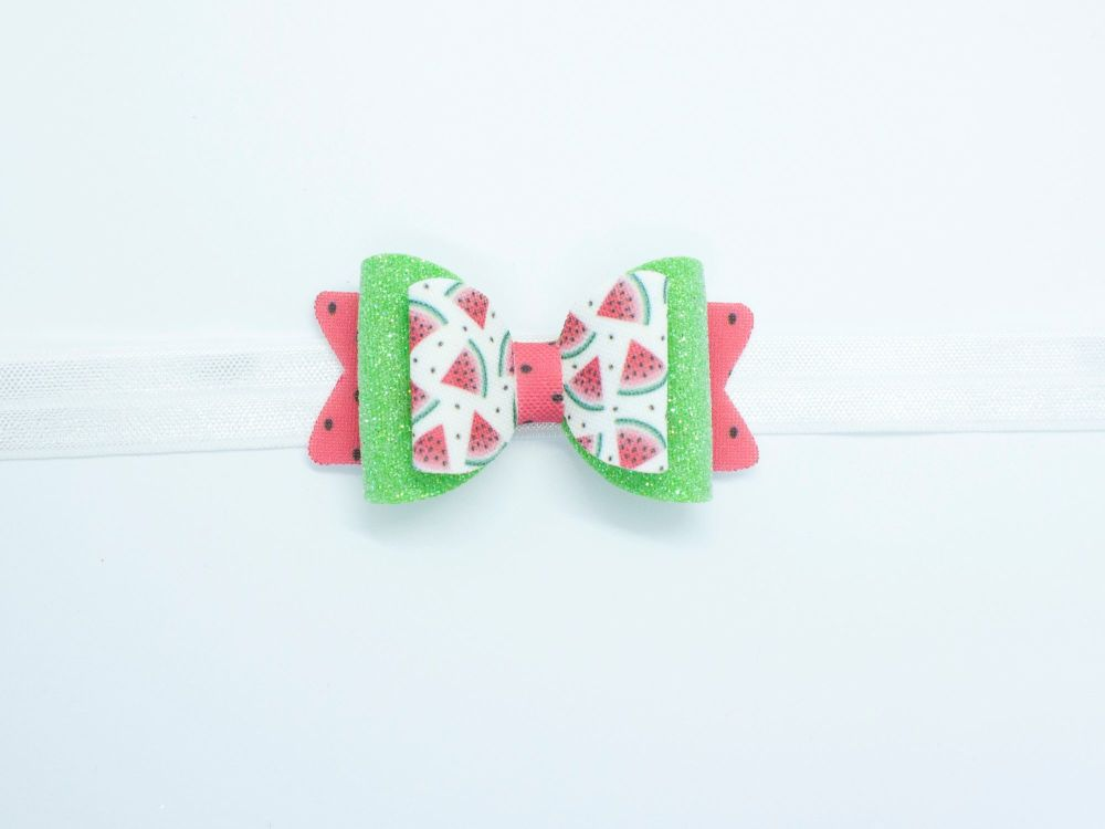 Watermelon Refresher Summer  Small Bow - On Clip or Headband