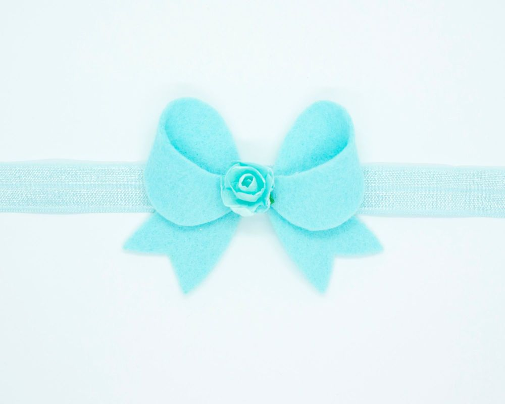 New Fancy Felt Small Bow with Rose Centre Turquoise - on Clip or Headband
