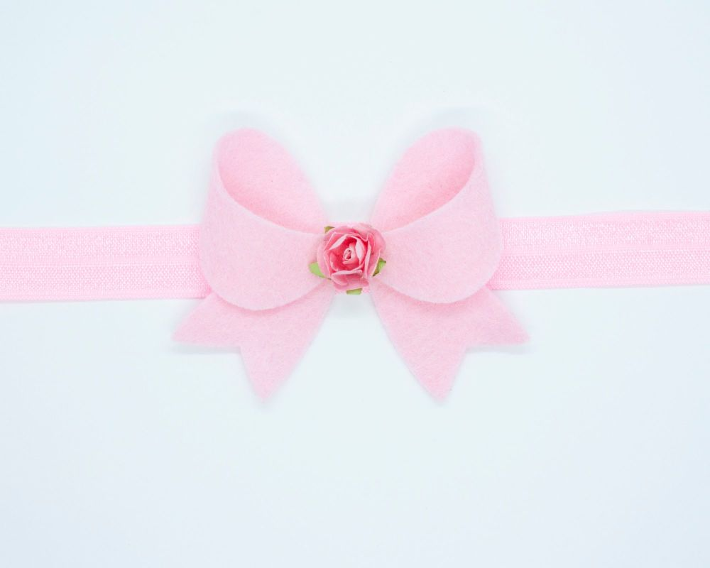 New Fancy Felt Small Bow with Rose Centre Ballet Pink - on Clip or Headband