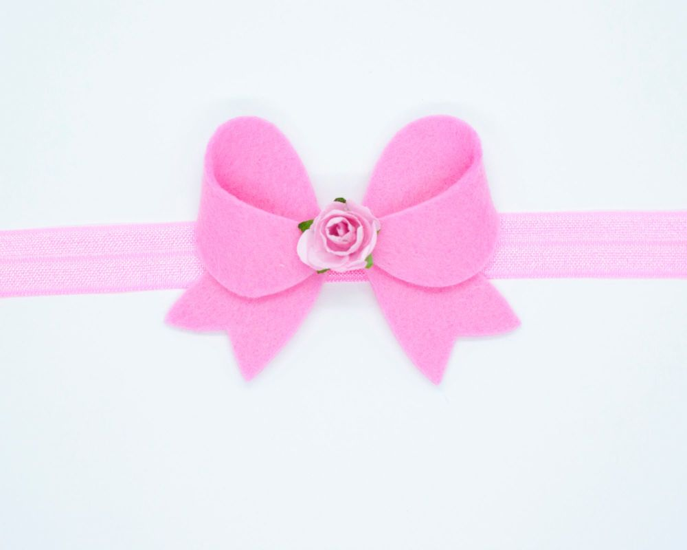 New Fancy Felt Small Bow with Rose Centre Candyfloss Pink - on Clip or Head