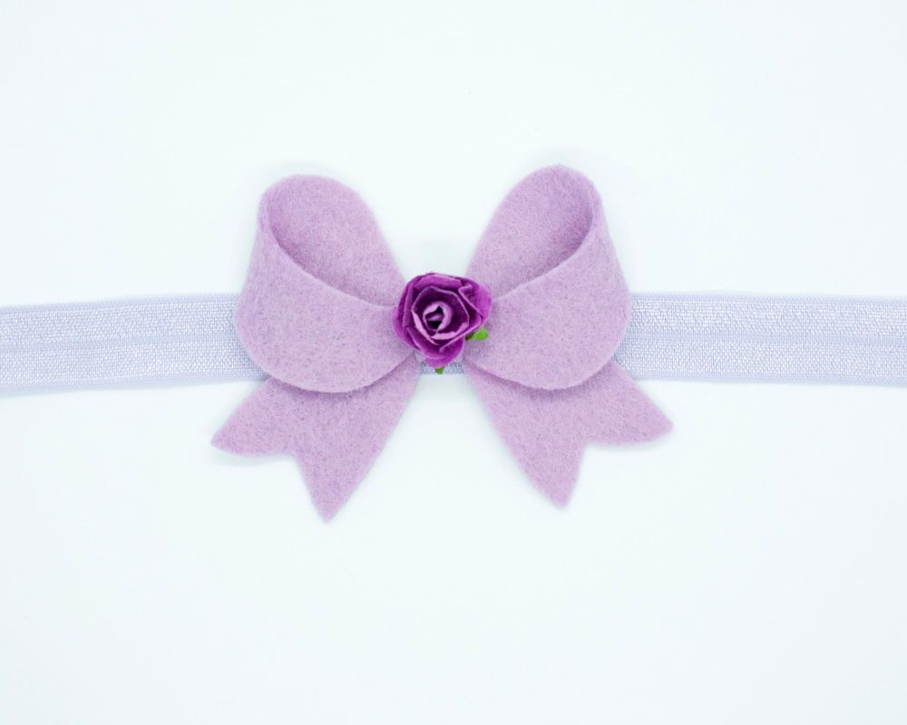 New Fancy Felt Small Bow with Rose Centre Lilac - on Clip or Headband