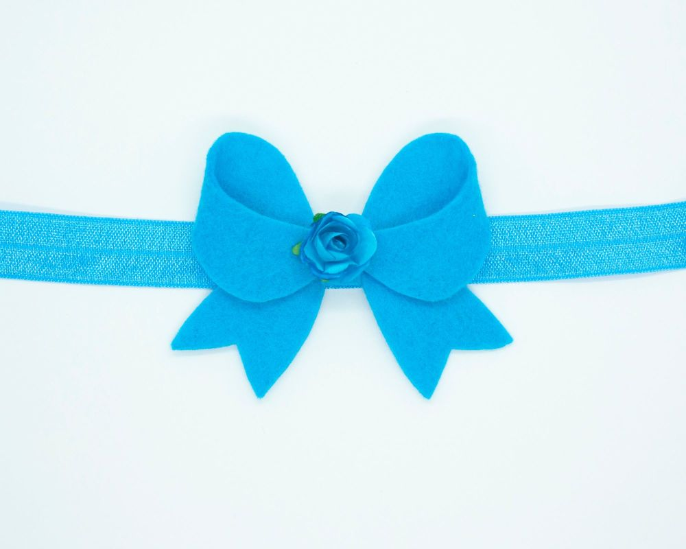 New Fancy Felt Small Bow with Rose Centre Marine Blue - on Clip or Headband