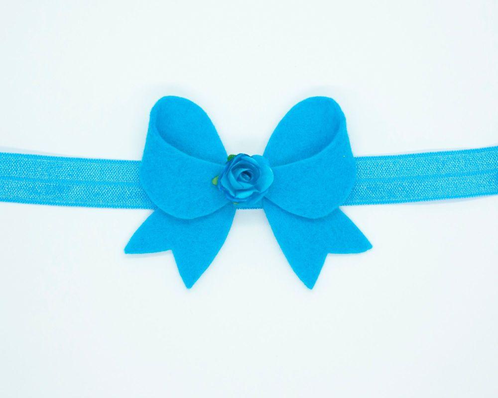 New Fancy Felt Small Bow with Rose Centre Marine Blue - on Clip or Headband