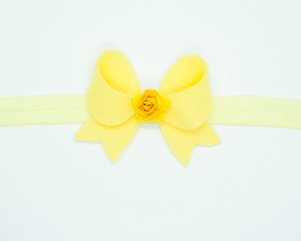 New Fancy Felt Small Bow with Rose Centre Yellow - on Clip or Headband