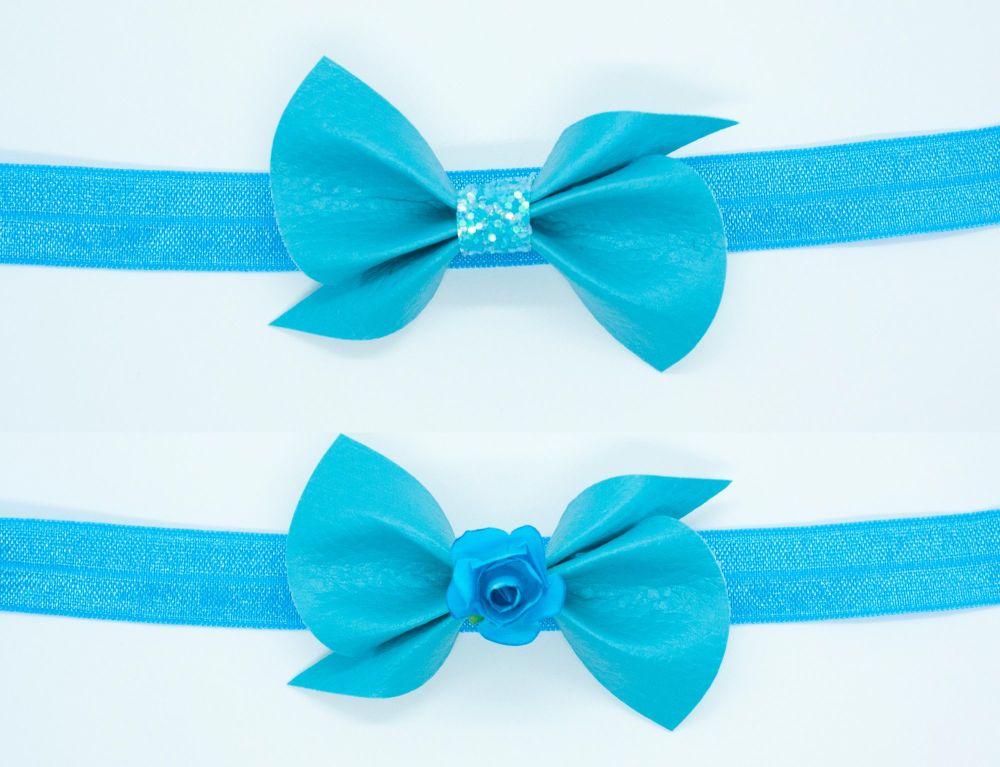 Leatherette Scrunchi Small Bow – Bahama Blue – 2 Options