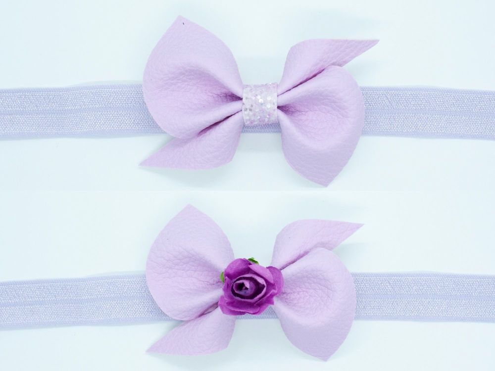 Leatherette Scrunchi Small Bow – Parma Violet – 2 Options