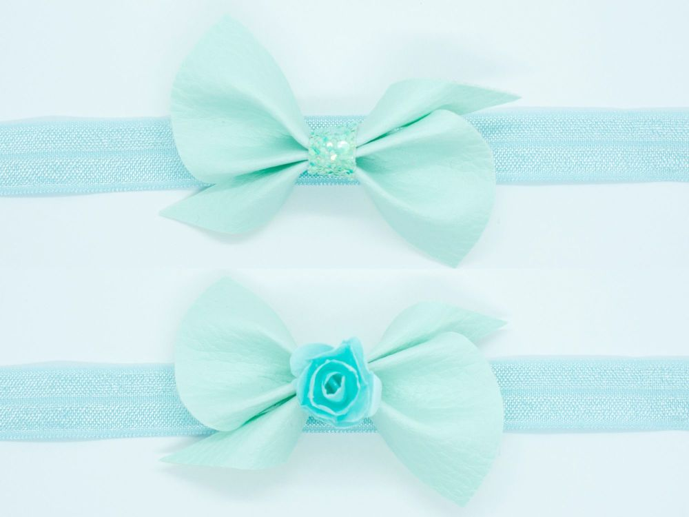 Leatherette Scrunchi Small Bow – Mint Ice Cream – 2 Options