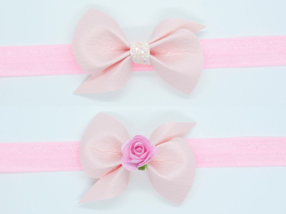 Leatherette Scrunchi Small Bow – Powder Pink – 2 Options
