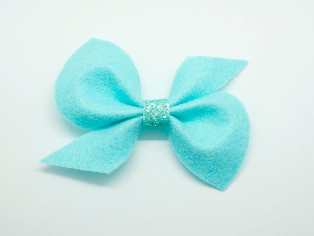 Scrunchi New Shape Felt Bow – Turquoise