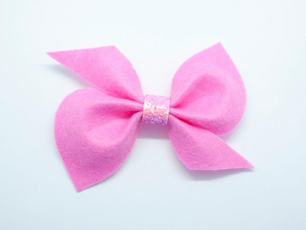 Scrunchi New Shape Felt Bow – Candyfloss Pink