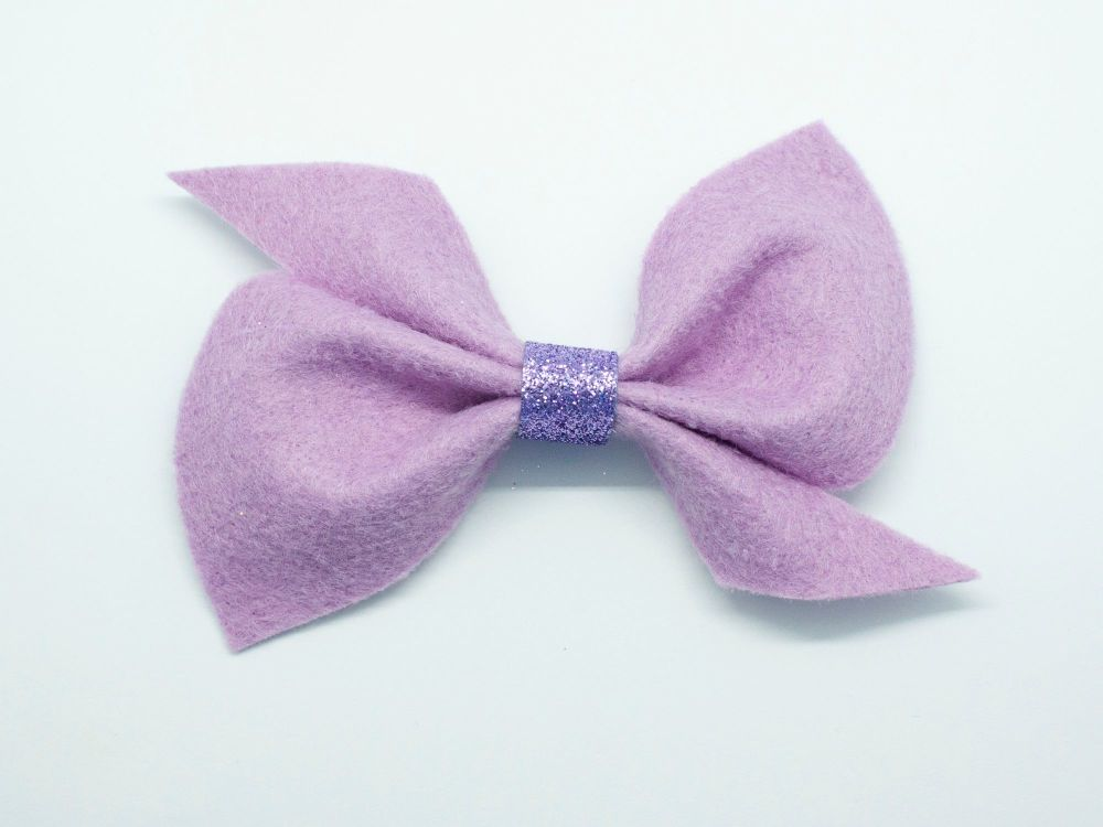 Scrunchi New Shape Felt Bow – Lilac