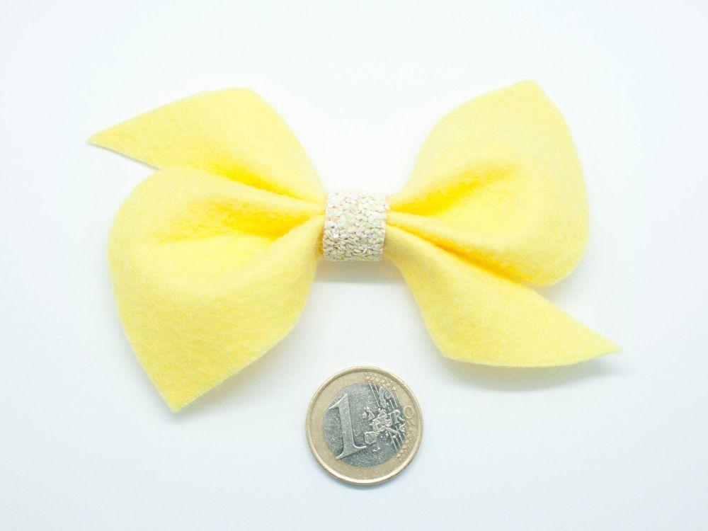 Scrunchi New Shape Felt Bow – Yellow