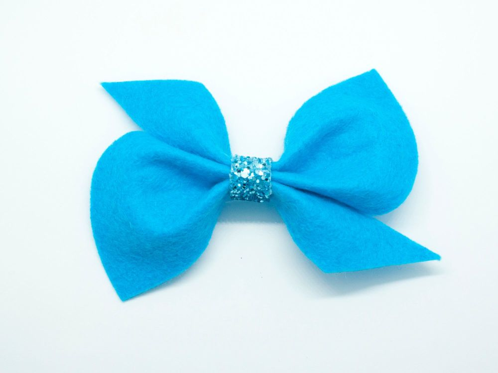 Scrunchi New Shape Felt Bow – Marine Blue