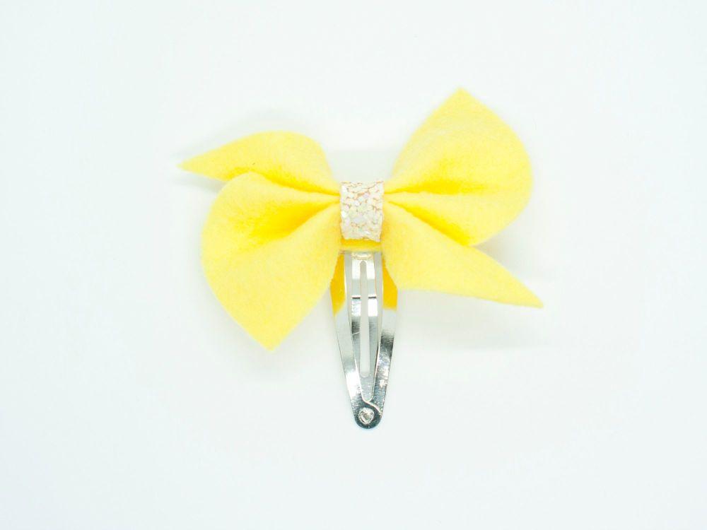 Scrunchi New Shape Felt Bow Small – Yellow - on Clips or Headband