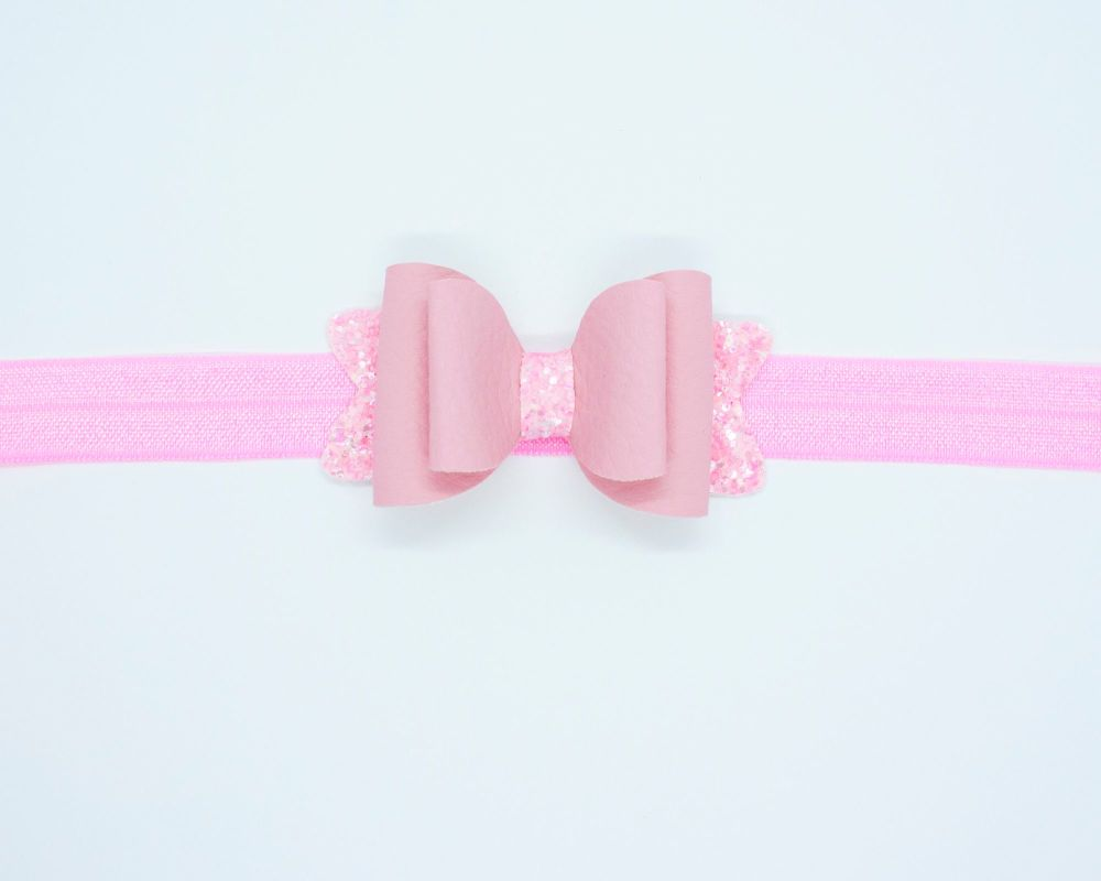 Beautiful Soft Leatherette Small Bow Blush Pink - on Headband or Clip
