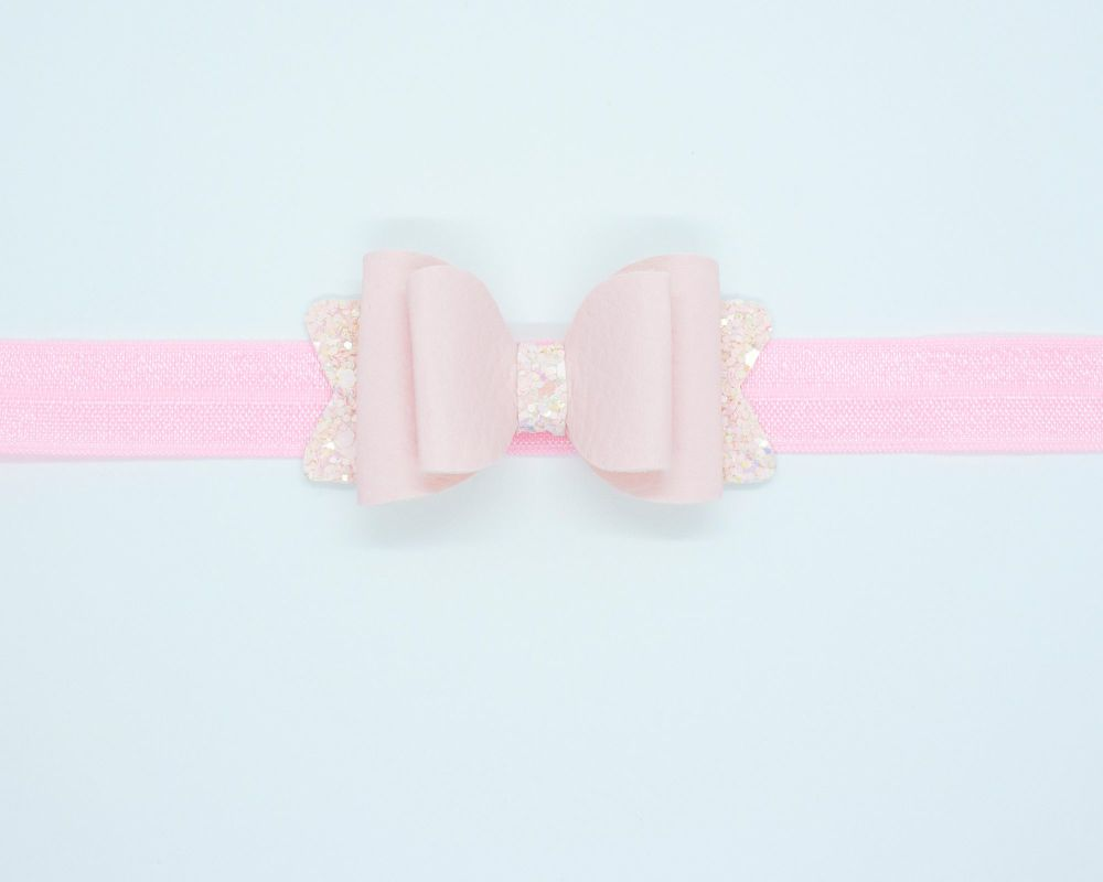 Beautiful Soft Leatherette Small Bow Powder Pink - on Headband or Clip