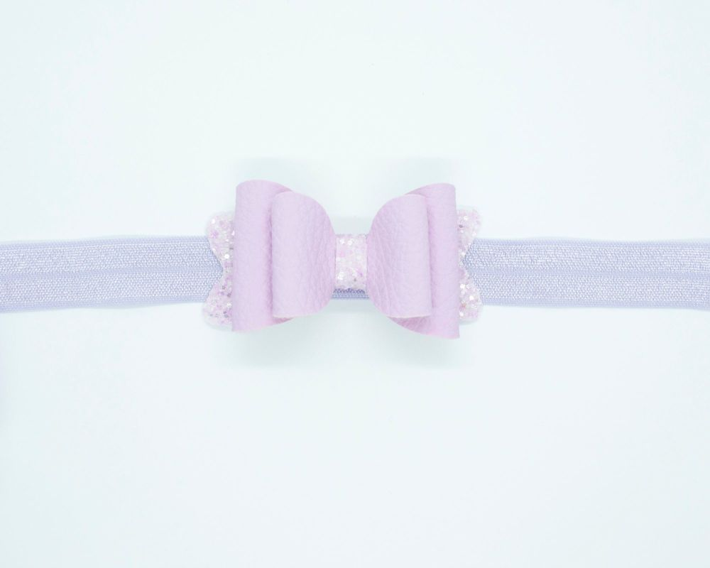 Beautiful Soft Leatherette Small Bow Parma Violet - on Headband or Clip