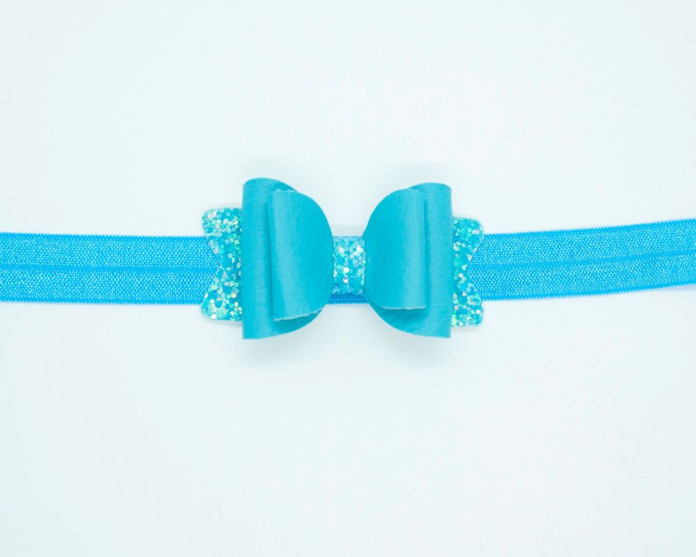 Beautiful Soft Leatherette Small Bow Bahama Blue - on Headband or Clip