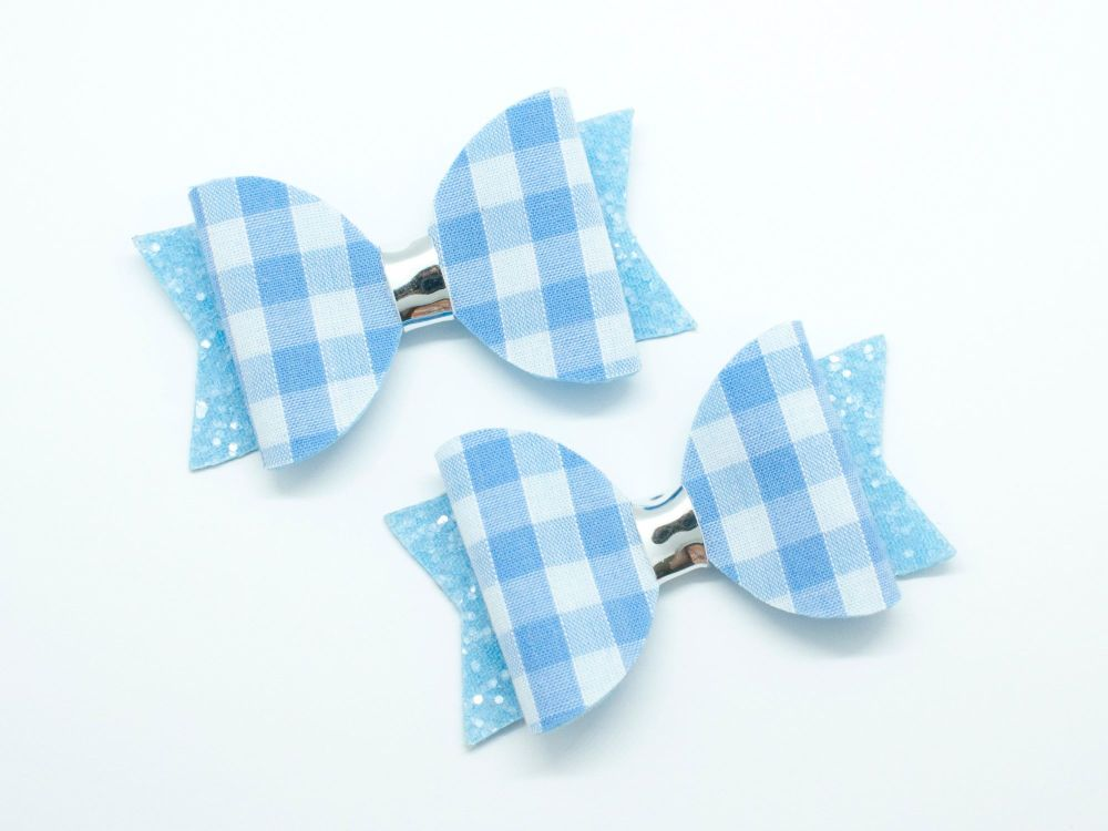 Gorgeous Gingham – School Bows Light Blue - 2 Options
