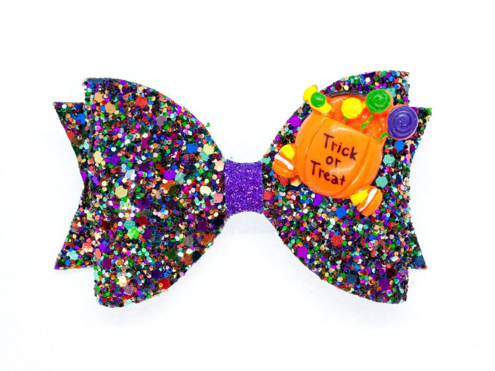 Spooky Sparkles Trick or Treat Bow