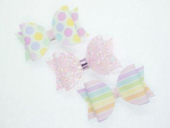 A Trio Pretty Pastels Small Bow Set