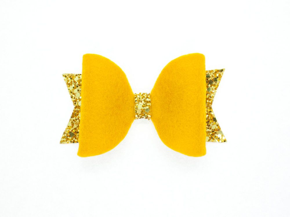 Fabulous Felt Collection Mustard 100% Wool Felt Bow