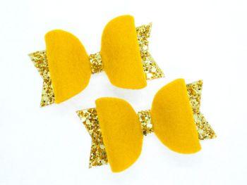 Fabulous Felt Collection Mustard 100% Wool Felt small bows