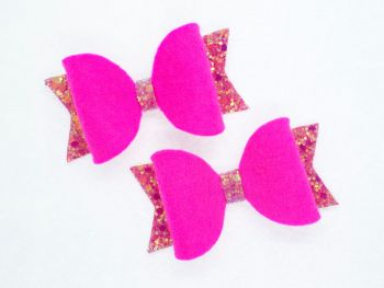 Fabulous Felt Collection Hot Pink 100% Wool Felt small bows