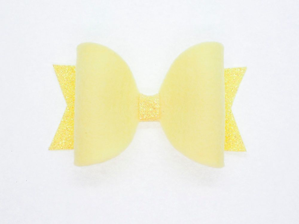 Fabulous Felt Pastels Yellow 100% Wool Felt Bow