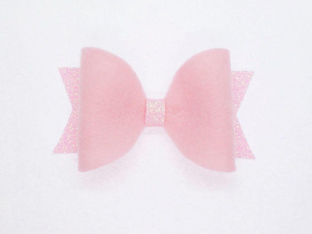 Fabulous Felt Pastels Pink 100% Wool Felt Bow