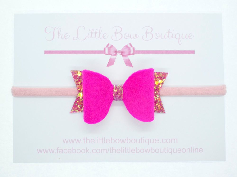Fabulous Felt Collection Hot Pink Headband Bow