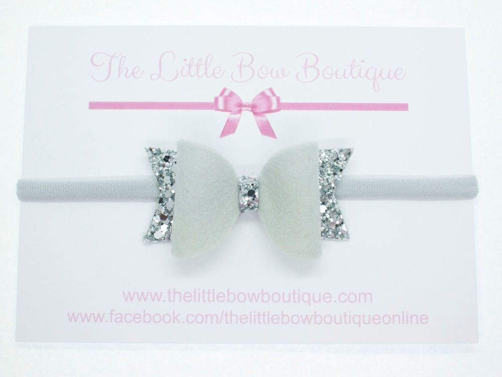 Fabulous Felt Collection Grey Headband Bow