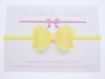 Fabulous Felt Pastels Yellow Headband Bow