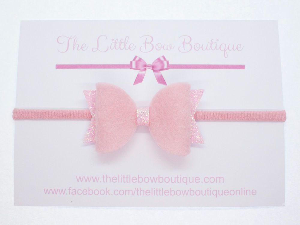 Fabulous Felt Pastels Pink Headband Bow
