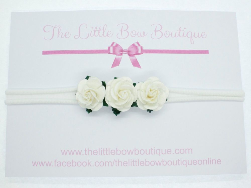 Adorable Little Flower Headband White