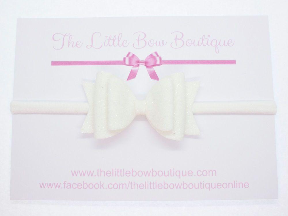 Christening Bow Headband White Glitter