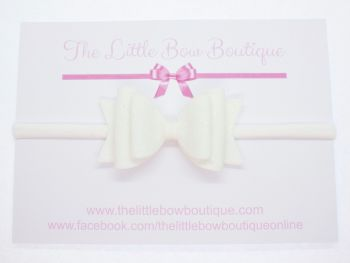 Christening Bow Headband White Glitter