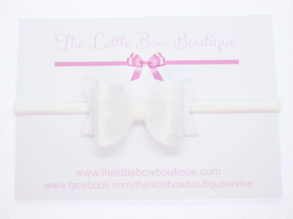 Christening Bow Headband White Velvet