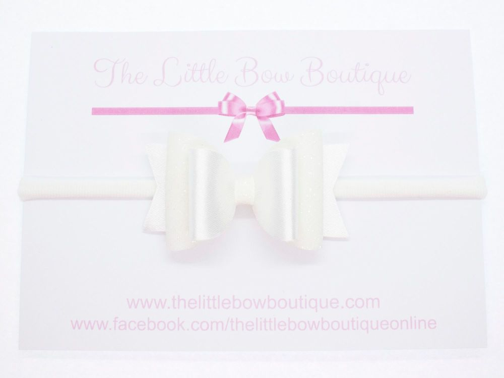 Christening Bow Headband Satin & Glitter