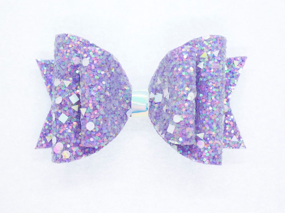 Crystal Sparkles Glitter Bow Unicorn Purple